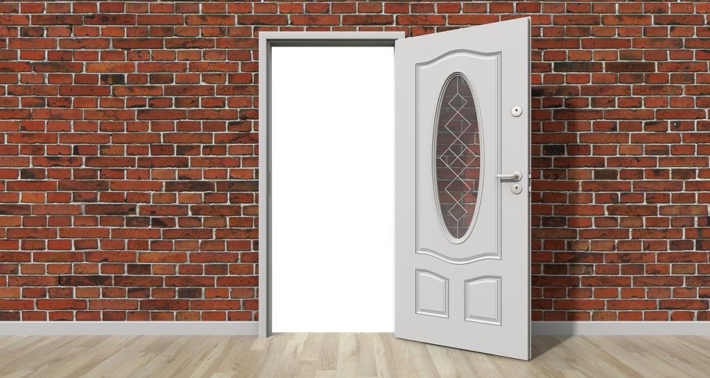 Tür Haustür offen Wand Hauswand Fassade